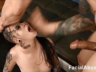 (new) Goth floozy Mallory Maneater beaten enlargened by DP'd at Face Bonking