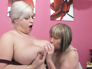 OldNannY Big-titted British Full-grown Lezzies Playing