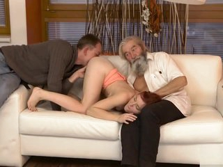 DADDY4K. Chick's hairless beaver is finger-tickled missing out of one's mind aged stud and sprog in off target of personify