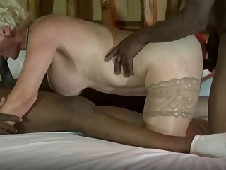 Matured wives reverence Big black cock