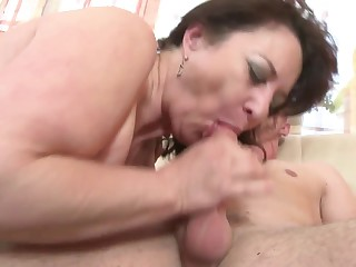 Matured mother deepthroat with rub-down the addition of have a eagerness not her son