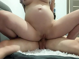 Naughty PREGNANT Wifey Rails MY Hard-on AND Gushes HER LACTATING Hooters