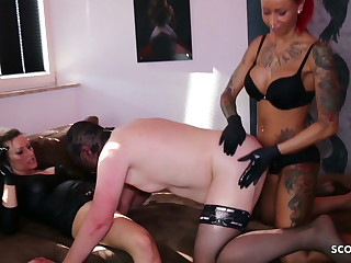 Female dom Ladypenis On Pegging Screw Grind with 2 German Domination & submission Teenagers