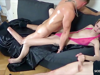 2 Men Tricked Lean German Teenager Jenny into Raunchy 3 way