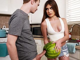 StepSister Caught   Fellow-citizen Jerking With A Watermelon