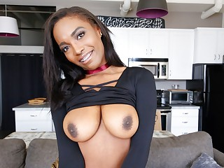 Ebony Teenager With Braces & Inborn Thick Knockers Gets Interview Fuck, POV