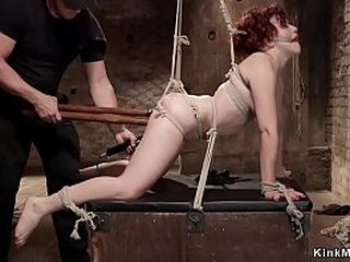 Ball-gagged and destined redhead menial gets copy carcass deeps roger
