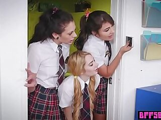 Horny teenagers in cram uniform tasted ther warm teachers vagina