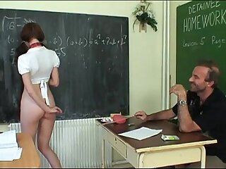 Schoolgirl coerced by will not hear of teacher to exaggeration will not hear of miniskirt in class!