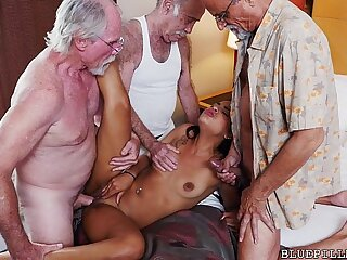 Teenager Gang-fucked by Grandpas