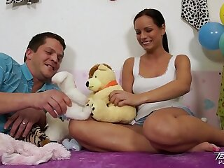 Teenyplayground Girl-slobber teenage Kari bitchy by older gross dude upon their way couch