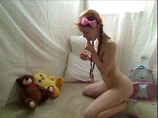 Scorching Teenage Redhead Dolly Lil' Stroking in Footie Pajamas