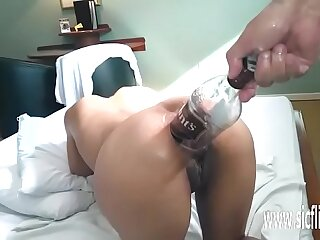 Original anal invasion going knuckle deep and sauce bottle pound