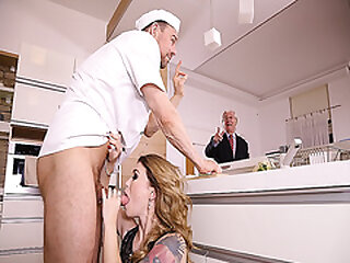 Misha Cross glob to her knees and deep throat the chefs brutha