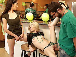 Both stepsisters pounded at a soiree by their stepbro