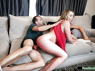 Blond stepdaughter railing horsey on stepdads fat stiff hard-on