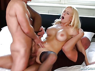Lusty light-haired cougar gets dp'd