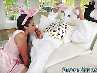 Teenager screwed and spermed by costumed stepbro