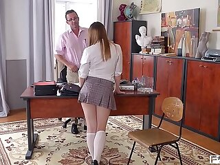 Teacher gets to pulverize his fave student Olivia Grace's taut teenage beaver
