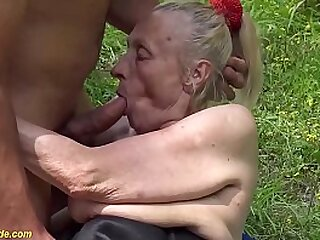 extraordinary gross fat platinum-blonde 86 years old grandma gets very first time harsh outdoor bitchy by her youthful toyboy