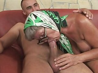 Highly molten granny with extraordinaire knockers is poked by a youthful vicious