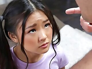 Teenie asian with pigtails messing around in the living donks gets astonished by a bare man. - teenager pornography
