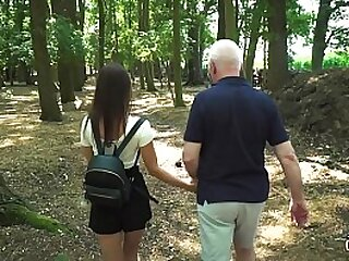 Youthfull nymphomaniac gets nailed by grandpa in her taut beaver and tasty facehole
