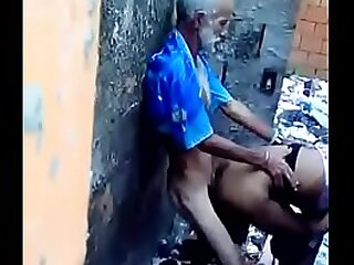 Old grandpa doing lovemaking with youthful lady