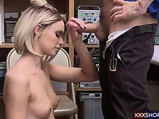 Blonde shoplifter acquires castigate fucked in the office