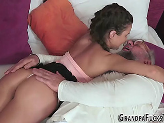 18 Age Teen acquires old cock facial cumshot