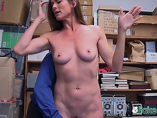 Sexually aroused officer makes sofie marie unclothe down and take his expressed salami