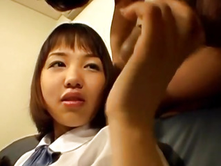 Riho deep-throats impaler and is screwed with massager