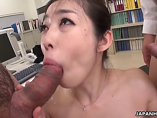 Office secretary ryu lingers after work to be dual teamed