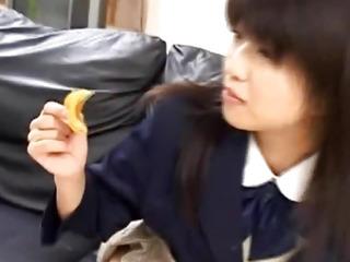 Rin female in school uniform deep throats phallus