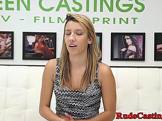 Dilettante stunner toughly pounded during audition
