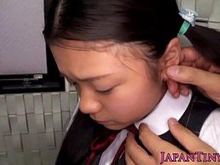 Wild Japanese stud screws youthful girl's facehole
