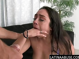 Stunning Latina gags on big cock