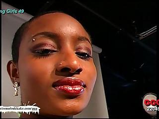 Ebony Babe Audry the Cum target - Extreme Bukkake