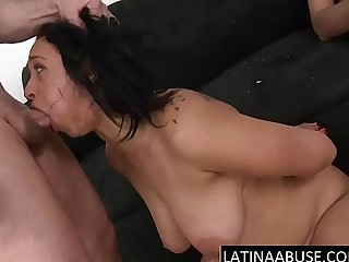 2 big cocks destroy her latin throat