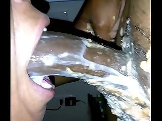 Ebony Milf Slut Vomit & Puking Milk on BBC