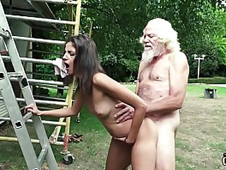 Grandpa fucks a super hot young girl and gives her a facial cumshot